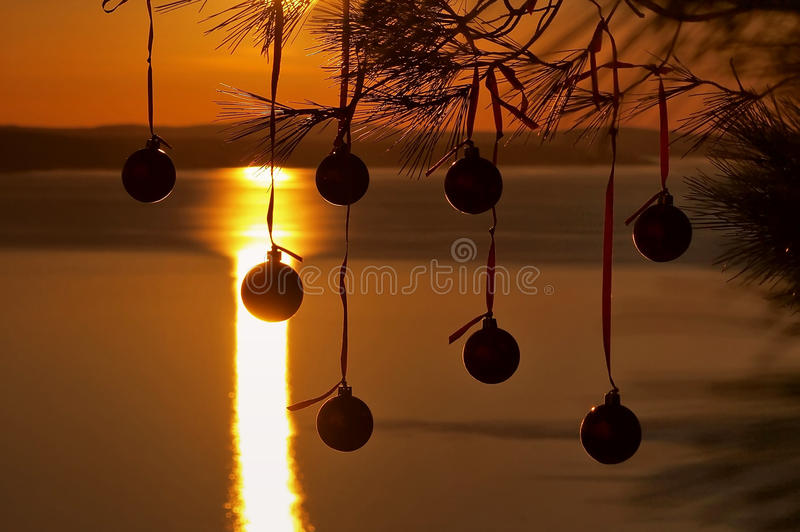 Download Christmas Balls At Sunset 1 Stock Image - Image: 17071293