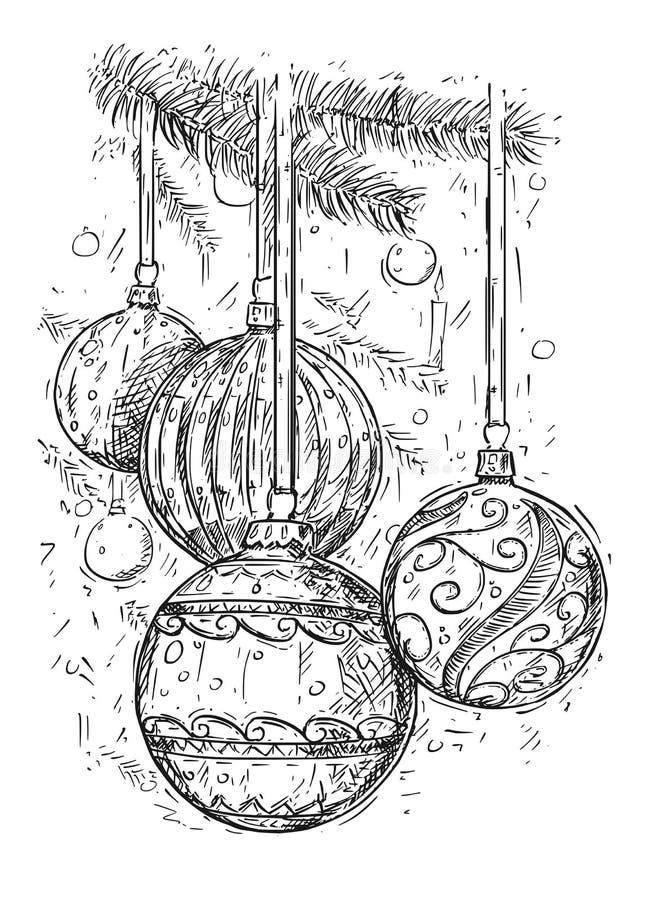 Christmas Balls on the Tree Hand Drawing Vector Illustration. Hand drawing vector illustration of Christmas ball decorations on the tree stock illustration