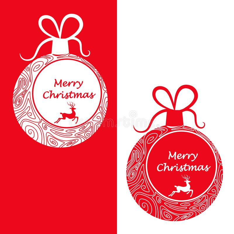 Christmas balls in two colors with carved patterns and the words Merry Christmas. Vector royalty free illustration