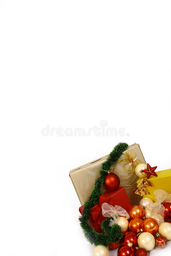 Christmas balls on a white bac royalty free stock images