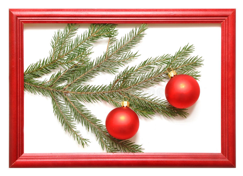 Download Christmas Balls In Wood Frame Stock Photo - Image: 17179754