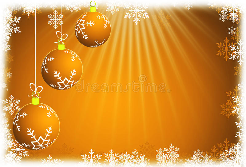 Christmas balls and yellow abstract background. RASTER VERSION. Illustration vector illustration