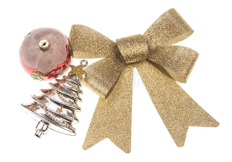 christmas balsl with gold ribbon bow on white background royalty free stock images
