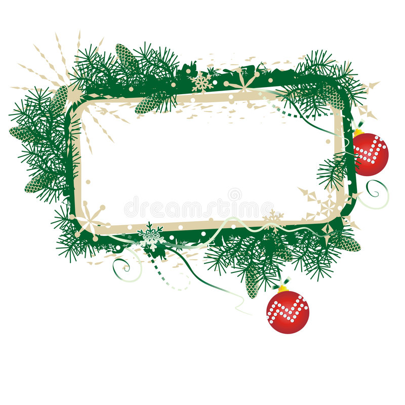 Christmas banner. Green and gold Christmas blank framed banner with red balls