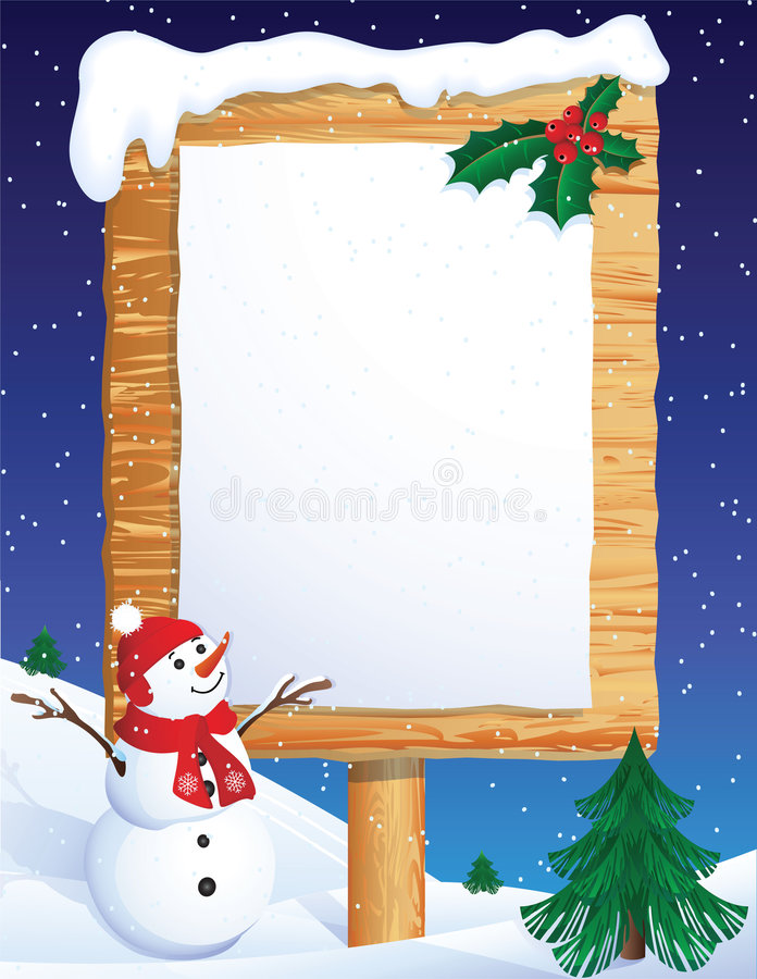 Christmas banner. Vector illustration - snowman with winter background