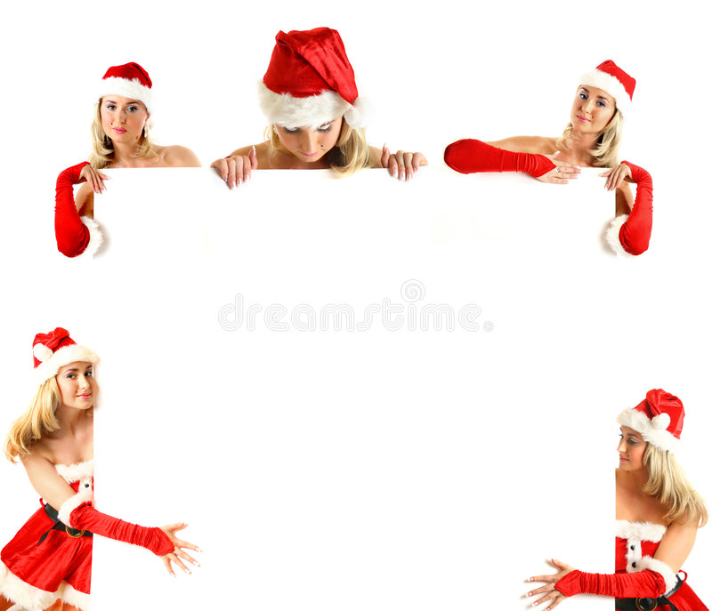 Christmas banner. Big collect of santa girl hold christmas banner in hands royalty free stock photography