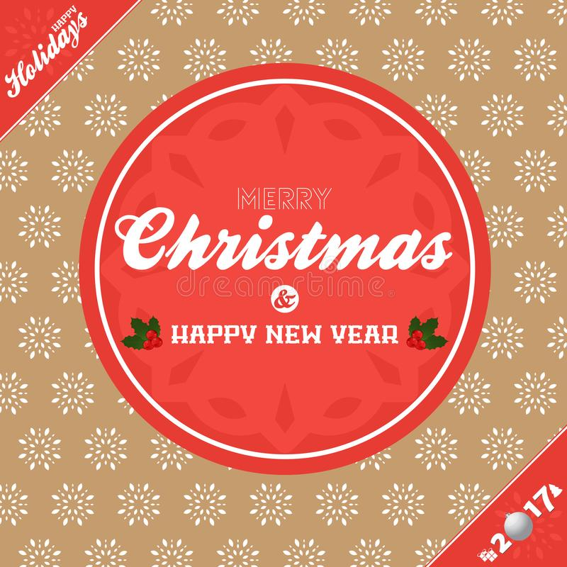 Christmas banner background brown and red stock illustration