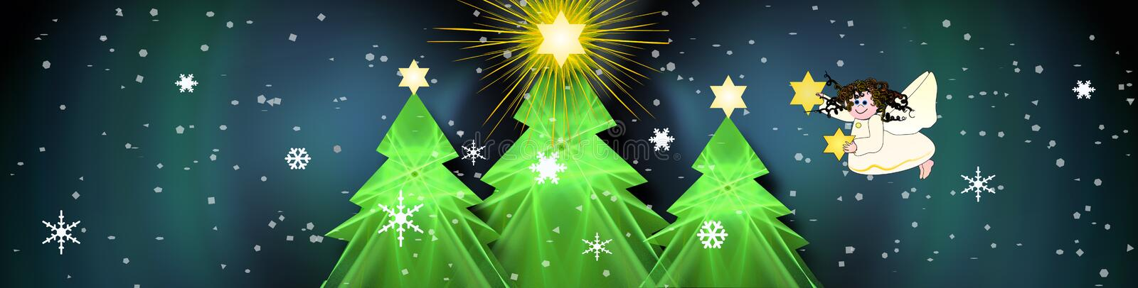 Christmas Banner With Bright Stars. Decorative digital christmas design with snow stars and a cute angel royalty free illustration