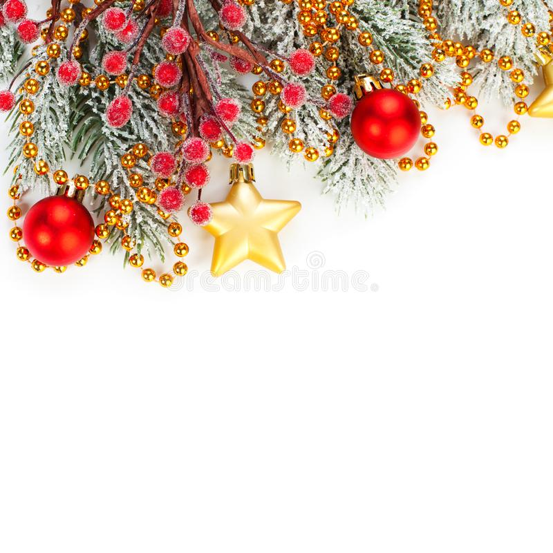 Christmas banner card. Xmas decor isolated on white background. Festive garland border with hanging balls and stars royalty free stock photos