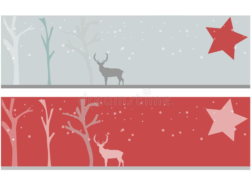 Christmas banner with deer royalty free stock image