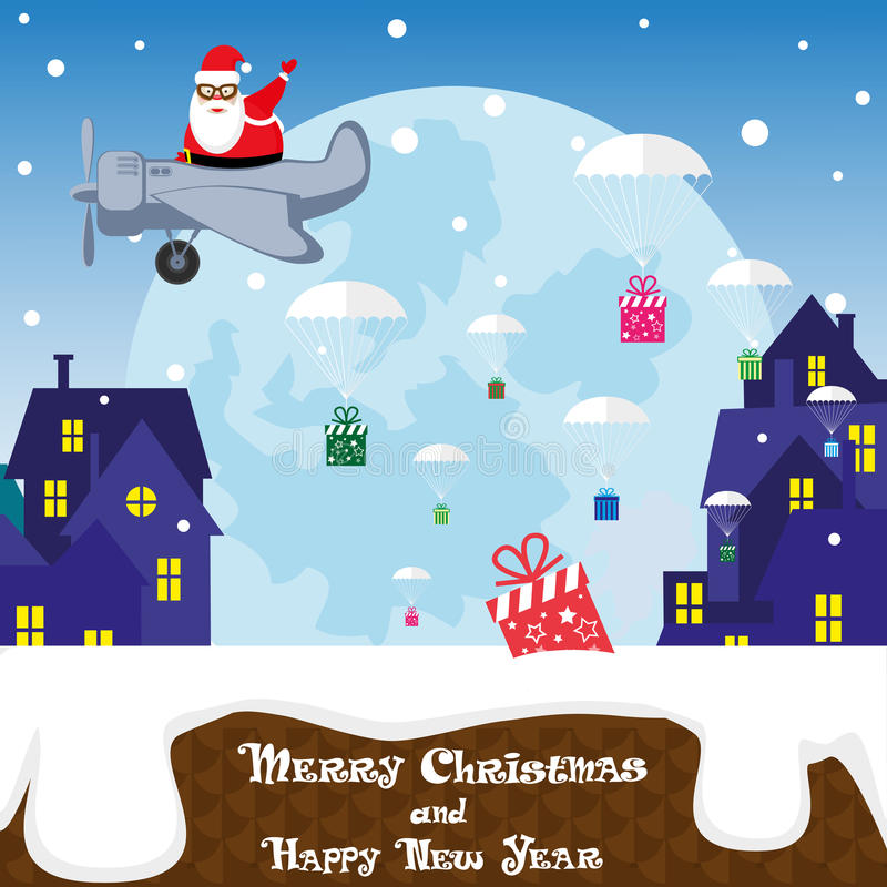 Christmas banner funny Santa Claus on airplane on background silhouettes of city. Cartoon style. Vector illustration stock illustration