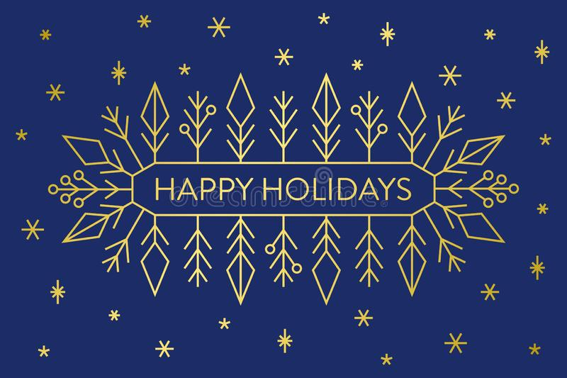Christmas banner, gold geometric snowflakes and shapes on dark blue background with text Happy Holidays royalty free illustration