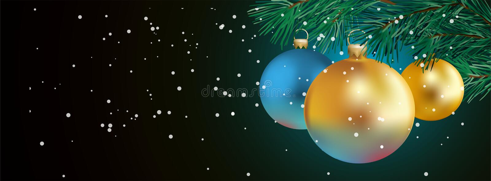 Christmas Banner with golden and blue christmas balls - illustration for Facebook Cover - vector. Christmas Banner with golden and blue christmas balls and fir royalty free illustration