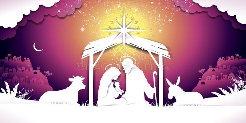 Christmas Banner Nativity sunset Scene royalty free illustration