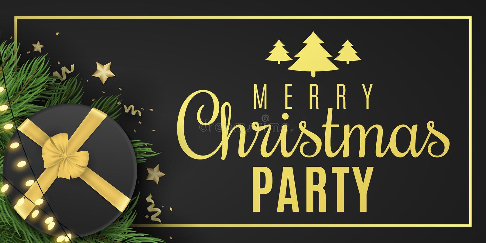 Christmas banner for party. Black gift box with a gold ribbon. Confetti with serpentine and golden stars. Glowing gold light stock illustration