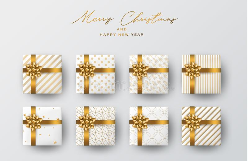 Christmas banner or poster design. Xmas gift boxes. Winter celebration concept. Golden ribbon and bow on white wrapping paper royalty free illustration