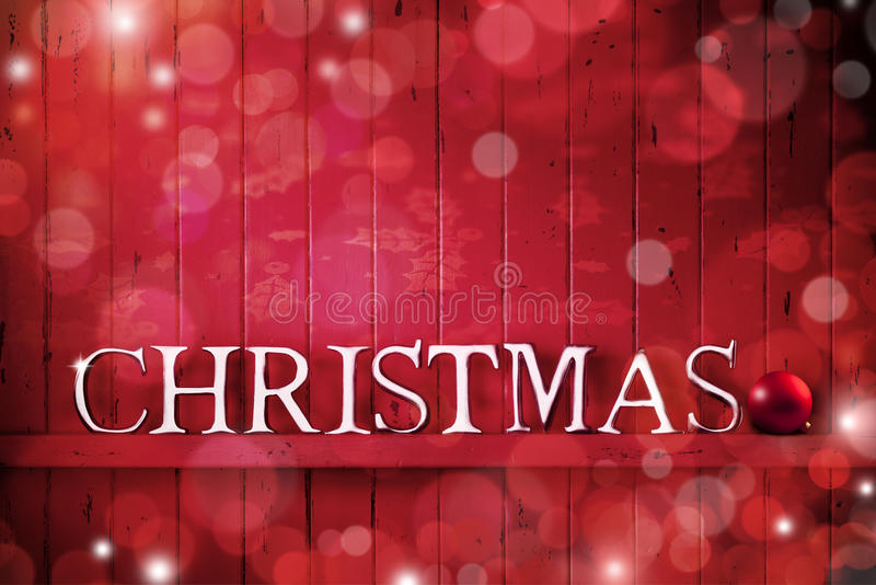 Christmas Wood Banner Red Background stock image