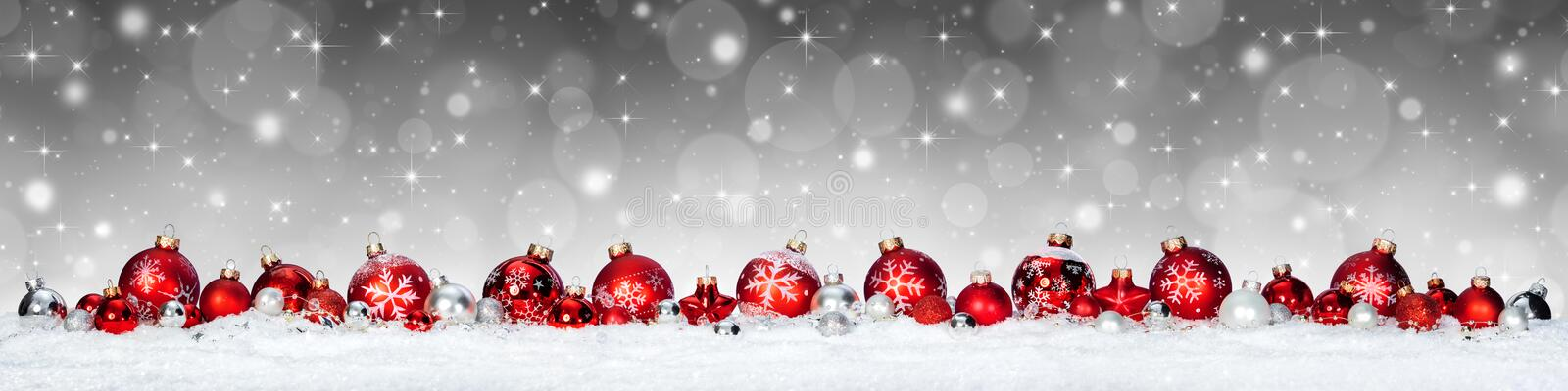 Christmas Banner - Red Spheres royalty free stock images