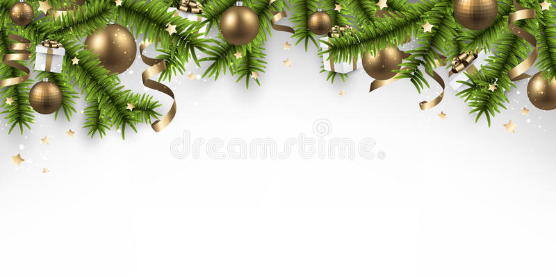 Christmas Banner Part - 30: Download Christmas Banner With Spruce Branches. Stock Vector - Illustration  Of Bauble, Space: