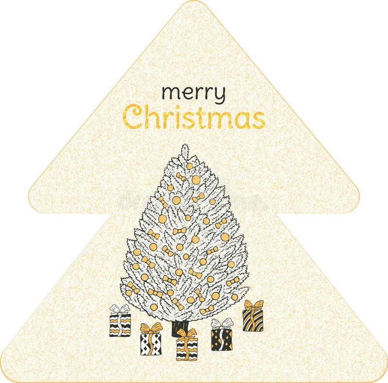 Christmas banner. Christmas tree with gifts and the inscription in the shape of a fir-tree. vector illustration