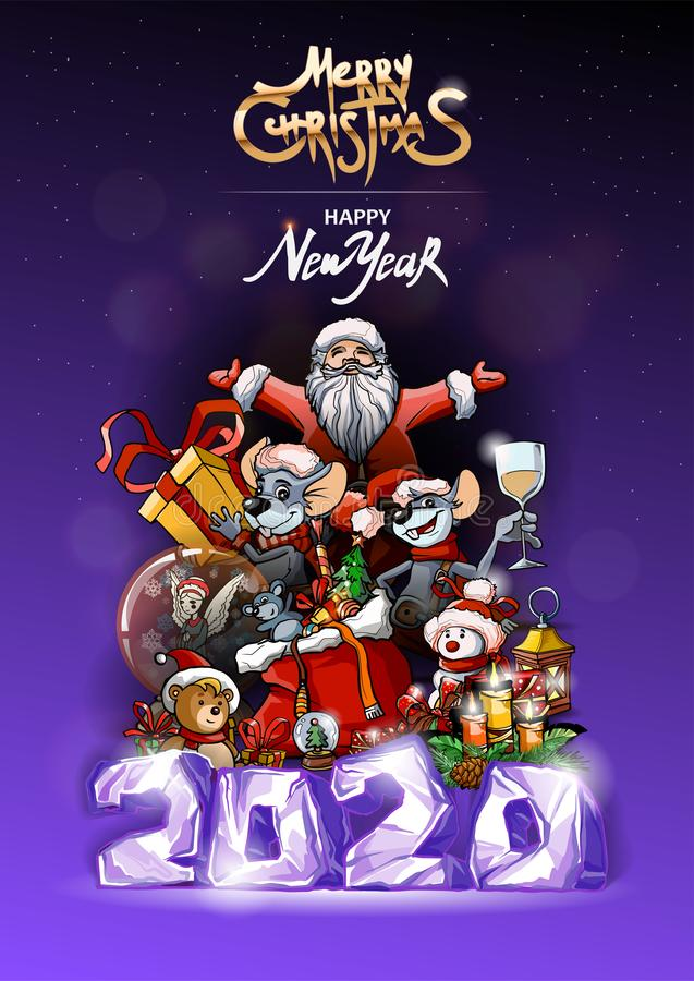 Free Christmas Banner With Dark Violet Background. Merry Christmas Golden Text. Holiday Poster With Santa, Rats, Teddy Bear Royalty Free Stock Image - 165658496