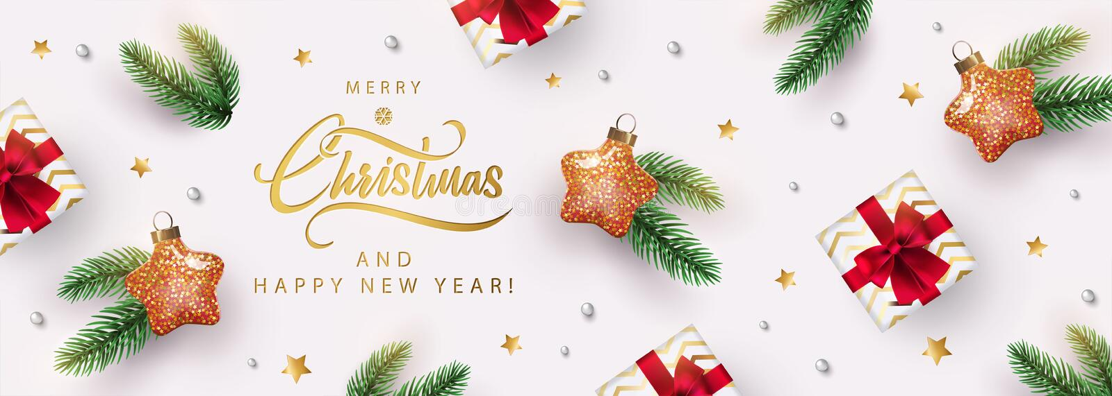 Christmas banner. Xmas background design with star shaped christmas toy, realistic gifts box, fir branch, glitter gold confetti. Horizontal New Year poster vector illustration