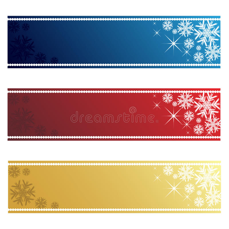 Christmas banners. Set of three Christmas banner in three colors:blue,red and golden.Isolated on white background.EPS file available