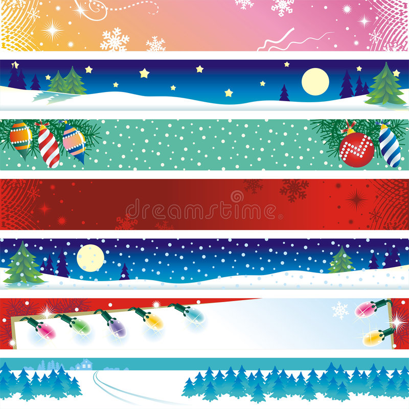 Christmas banners. Seven Christmas, winter or New Year banners or website headers