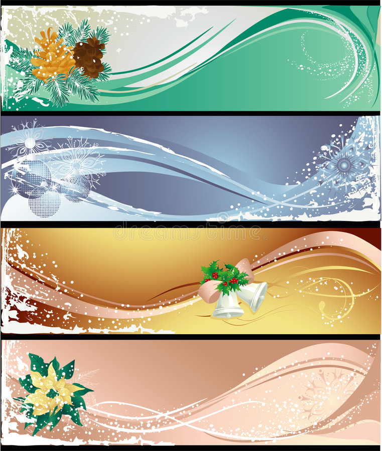 Download Christmas banners stock vector. Image of snow, blue, green - 6502661