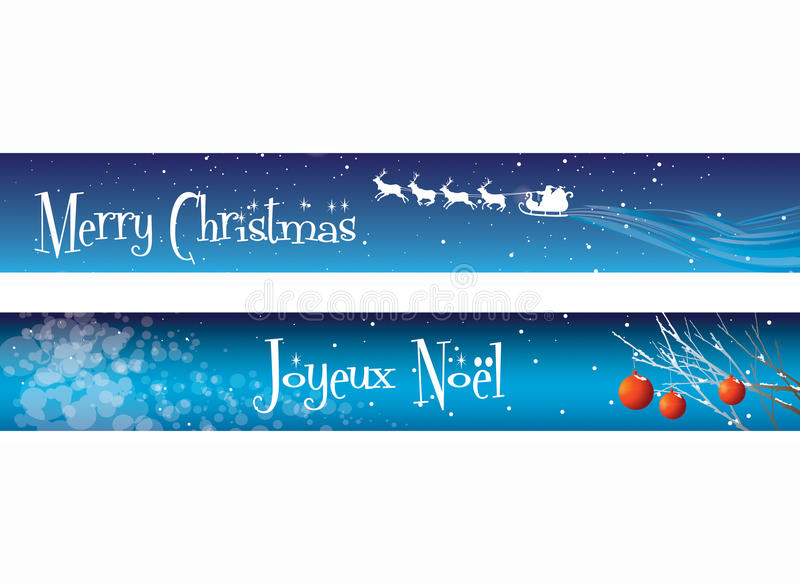 Download Christmas Banners on Blue stock illustration. Image of backgrounds - 12044844