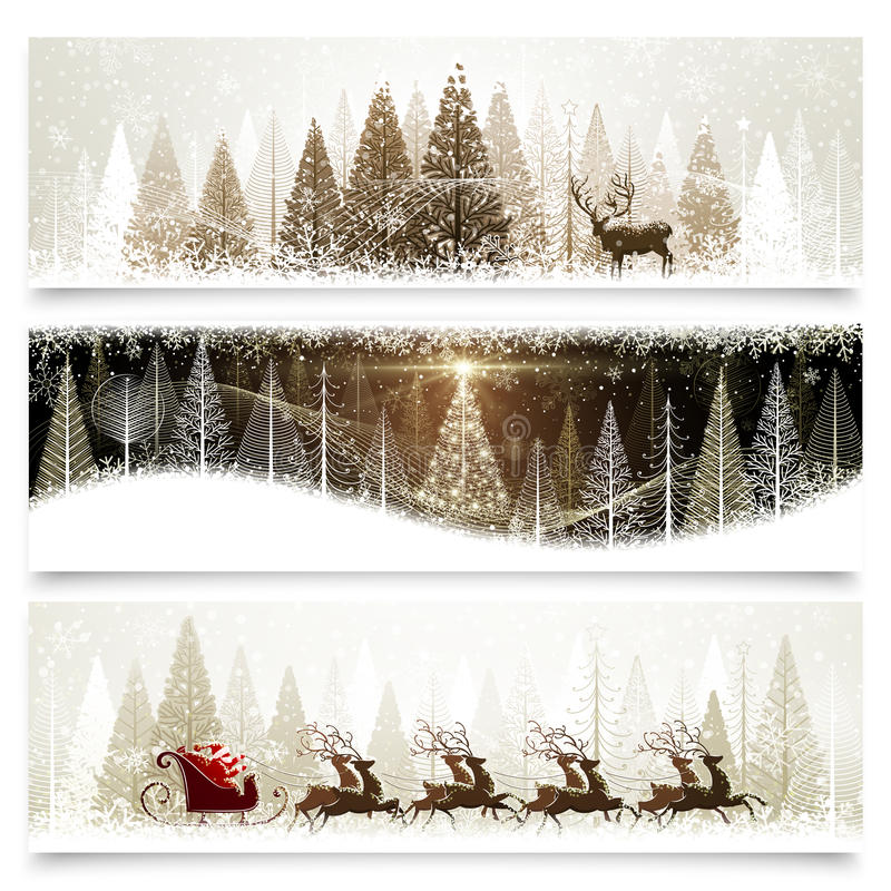 Christmas banners. Collection of banners with Christmas landscapes
