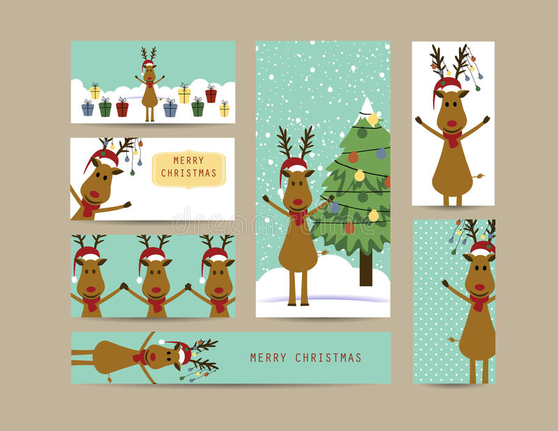 Christmas banners. Cute christmas card and banners with reindeers stock illustration