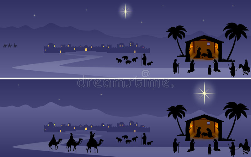 Christmas Banners - Nativity royalty free illustration