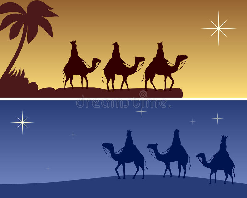 Christmas Banners - Wisemen royalty free illustration