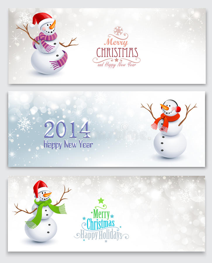 Free Christmas Banners With Snowmen Stock Photos - 34370073