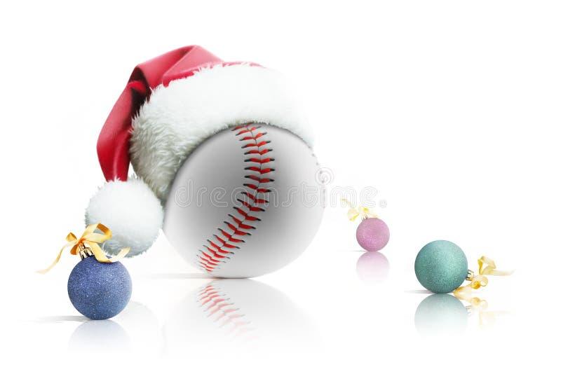 Christmas baseball. Baseball ball in Santa hat Christmas toys on white background. Isolated royalty free stock photos