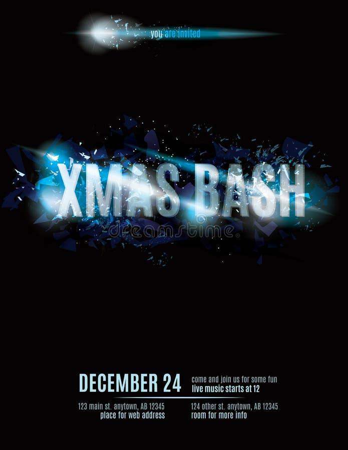 Christmas Bash Invitation flyer template. Fun explosion Christmas party invitation stock illustration