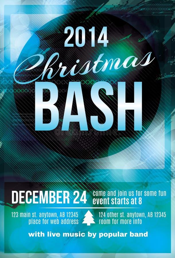 Christmas bash party invitation flyer. Funky dark blue Christmas bash party invitation flyer vector illustration