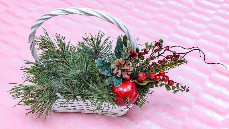 Christmas basket to decorate any object. stock photography