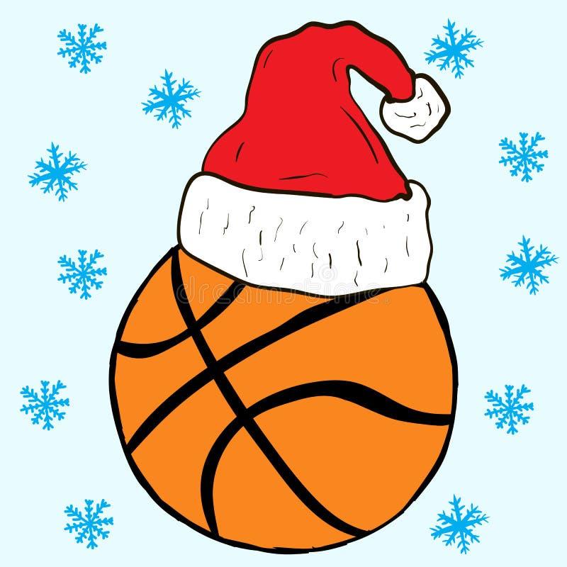 Christmas Basketball In A Cap Stock Vector - Image: 63640674