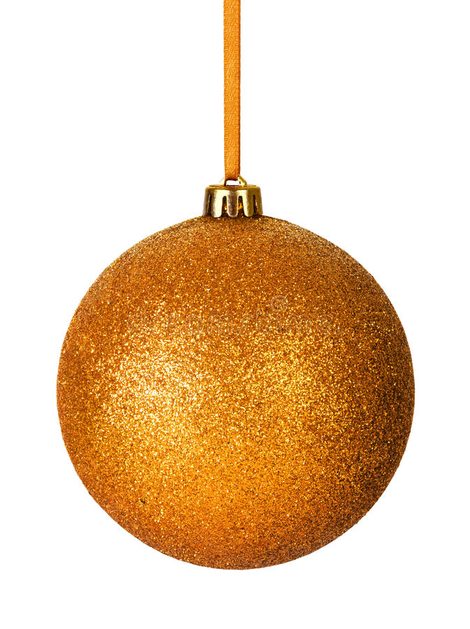 Christmas Bauble. Gold christmas bauble with ribbon isolated on white background royalty free stock photos