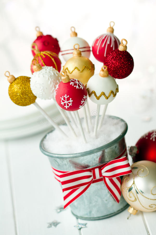 Christmas bauble cake pops royalty free stock photography
