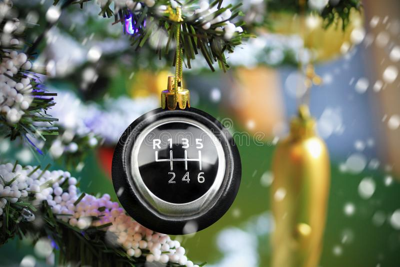 Christmas bauble with car gearshift royalty free stock photos