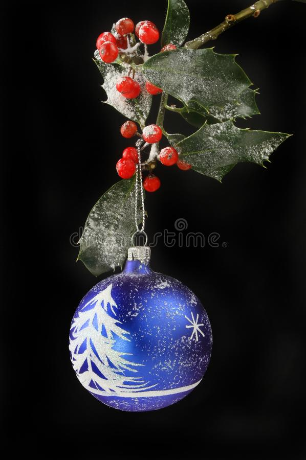 Download Christmas Bauble And Holly Against Black Stock Image - Image of seasonal, ornament: 105387473