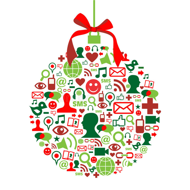 Free Christmas Bauble With Social Media Icons Royalty Free Stock Image - 21457156