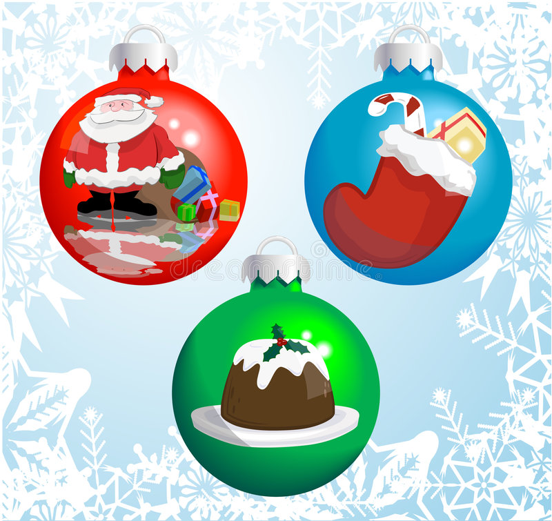 Christmas baubles. With pictures of a Santa hat, snowman, and Christmas tree reflected or painted on them! Shading by blends, no meshes used vector illustration