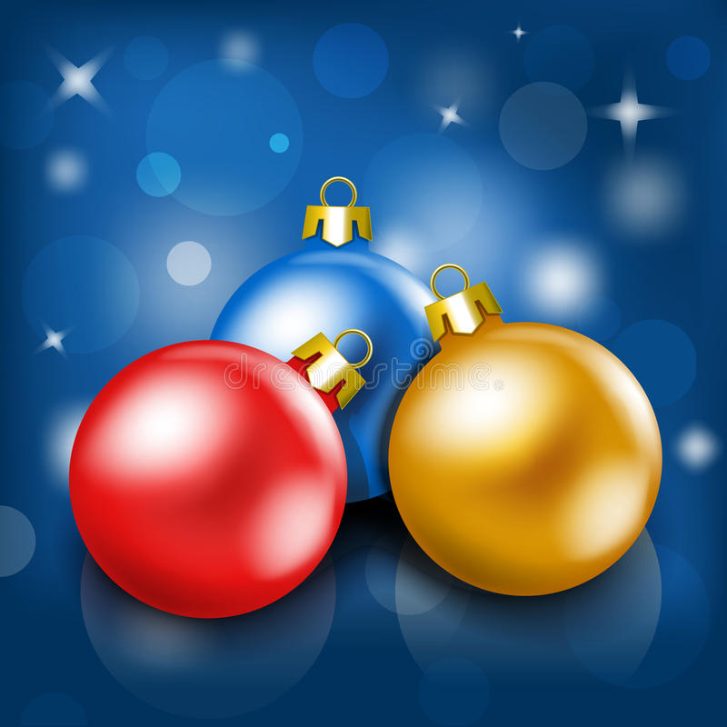 Christmas baubles. On a blurry background vector illustration