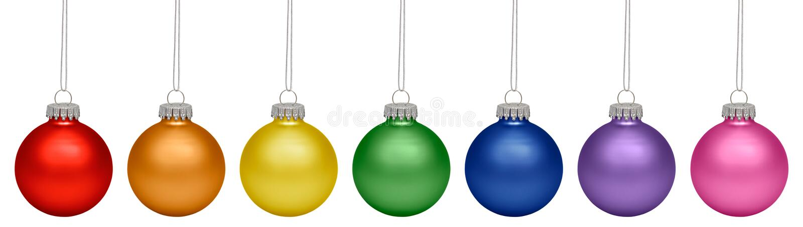 Christmas baubles all colors of the rainbow isolated on white. Background stock photos