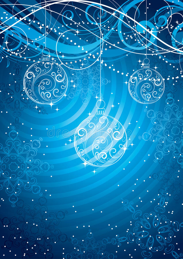 Christmas baubles background. Illustration of Christmas baubles and snowflakes on decorative blue background vector illustration