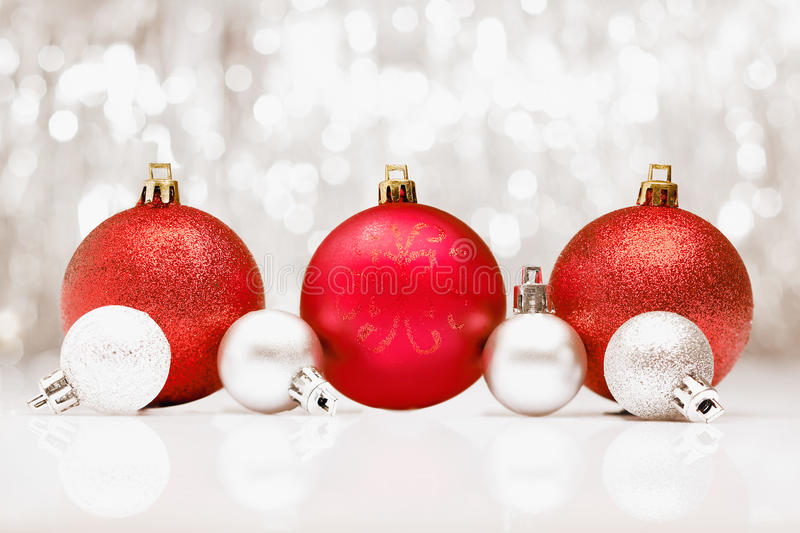 Download Christmas Baubles With Bokeh Of Party Llights Stock Image - Image of silver, decorative: 26258171